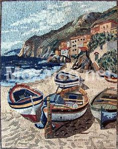 Customize your mosaic. how to install your mosaic. is a handmade marble mosaic that shows two boats on a beach with white crispy sand and blue waters. This is an amazing marble art that is made up of natural stones and tiles. Mosaic Tile Art, Mosaic Artwork, Pebble Mosaic, Mosaic Crafts, Mosaic Projects, Stone Mosaic, Mosaic Glass, Mosaic Designs, Mosaic Patterns
