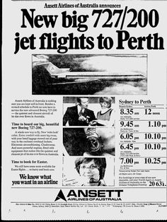 Ansett Airlines of Australia 1973 newspaper advert (Sydney Morning Herald) Pacific Airlines, Australian Airlines, Boeing 727, Air New Zealand, Air Travel, Melbourne Australia, Travel Posters, Vintage Airline, Air Lines