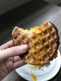 [I ate] a waffle breakfast sandwich with a runny yolk #food #foodporn #recipe #cooking #recipes #foodie #healthy #cook #health #yummy #delicious