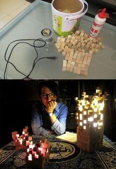 Ingeniosa idea para una lámpara espectacular | Amazing wooden lamp   Vía: Eslamoda