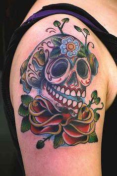 Méxicain Style Crâne Tatouage Pinup Chicano Rockabilly Décédé Mort T-Shirt 7246