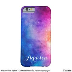 Watercolor Painting of Space   Custom Name Barely There iPhone 6 Case