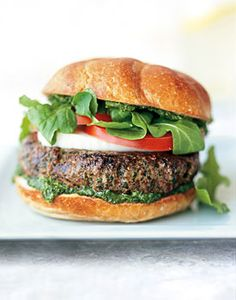 Find the recipe for Burgers with Mozzarella and Spinach-Arugula Pesto and other herb recipes at Epicurious.com
