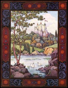 medieval castle art prints | MEDIEVAL Castle Lake SWAN European Landscape Antique Repro Fine ART ...