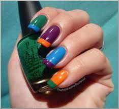 bold multi-color green blue purple orange alternating base stripe french tip nail polish
