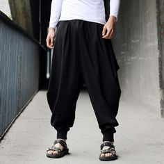 Stylish Lace-Up Solid Color Loose Fit Narrow Feet Men's Cotton+Linen Harem Pants, BLACK, ONE SIZE in Pants || Killah!