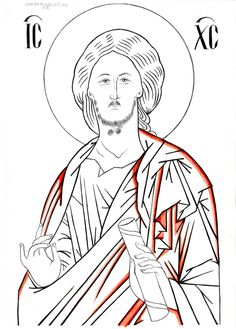 Byzantine Art, Painting Process, Orthodox Icons, Adult Coloring Pages, Line Drawing, Needlepoint, Outline, Christ, Sketches