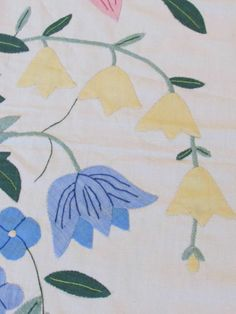 Vintage Hand Appliqued Coverlet or QUILT TOP Cottage Garden Flowers Vintageblessings