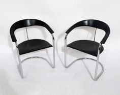 Black Leather Arm Chair Canasta Chair Arrben Italy Mid Century Modern