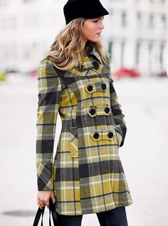 Yellow and gray plaid overcoat