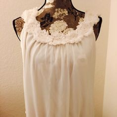 PRETTY SUMMER WHITE FLOWER BLOUSE Flowers on the blouse make it so soft and feminine. Perfect for summer, it was a gift and I wore it just once! Dress Barn Tops Blouses