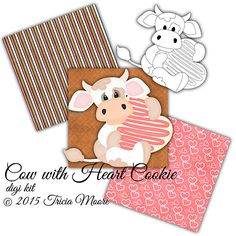 Cow with Heart Cookie Digi Kit