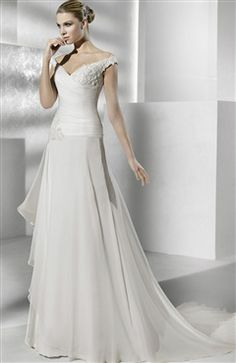 Chiffon White A-line Off-the-shoulder Chapel Train V-neck #Wedding #Gown Style Code: 07525 $229