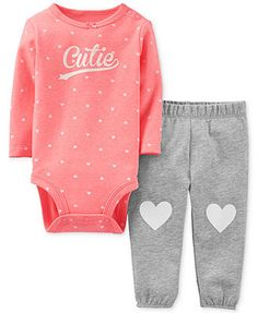 Carter's Baby Girls' 2-Piece Heart Bodysuit & Pants Set Follow My Pinterest: @vickileandro