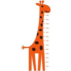 Adesivo de Parede Infantil Medidor Reguinha Girafa Stixx Adesivos Criativos Laranja/Marrom Escuro (70x165cm)