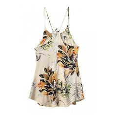 Floral Print Cami Slip Dress with Lace Detail ($64) ❤ liked on Polyvore featuring dresses, floral cami, floral printed dress, floral dress, white camisole and white cami