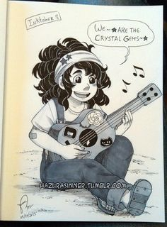 Inktober #8. Everyone who has been anxious to see Rosie Universe again can rejoice at last because I got the inspiration for today's Inktober with her 10 year old design. I want a personalized ukulele...