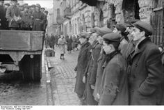 February Jews fall victim to Nazi savagery in Warsaw Groups of Jews are taken from the ghetto for compulsory labour, May Starvation and appalling living conditions had had a devastating impact on the population by Poland Ww2, Warsaw Poland, Warsaw Ghetto, Horrible Histories, World Watch, Jewish History, Lest We Forget, World War Two, Janus