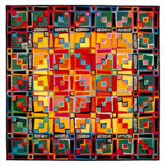 """Liz Axford Freehand 4: Luminous Numinous, 1992, 70"""" h. x 70"""" w., commercial and hand-dyed cottons, machine pieced, machine and hand quilted"""