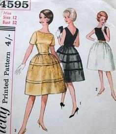 Vintage 50s Dress Sewing Pattern Simplicity 4595 Gorgeous Bateau Neckline Evening Prom Rockabilly Frock Size 12