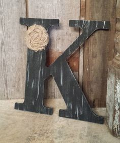 Black Rustic Chic Wooden Letter K home decor by ThePinkToolBox, $15.00