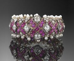 19th Century Ruby, Diamond and Natural Pearl Lattice Bracelet