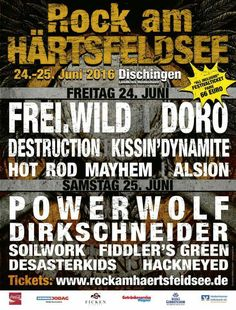 Line Up - Rock am Härtsfeldsee 2016 - Dischingen