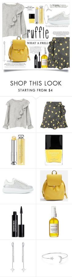 """Ruffles #1"" by elimarga ❤ liked on Polyvore featuring MANGO, Topshop, Christian Dior, Butter London, Alexander McQueen, Edward Bess, French Girl, Bling Jewelry, ruffles and RuffLyfe"