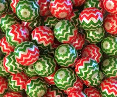 RED & GREEN Chevron Beads, 20mm Zig Zag Beads,Chunky Necklace Beads, Acrylic Bubblegum Beads