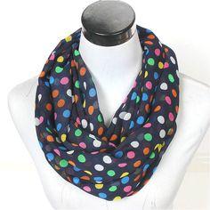 New Women Dot Ring Wrap Chiffon Scarves Winter Stripe Zig Zag Dots Loop Silk Shawl Female Geometric Plaid Infinity Warm Scarf