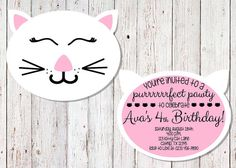 Cat Party Birthday Invitation Kitty Cat by ShootingStarsParties