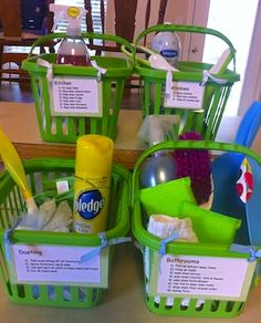Chore baskets - This is a great trick for kids. Write directions on the front of the basket and let them choose which task they want to do. But maybe as a bucket to be able to stack in a closet