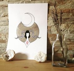 #art #etsyshop #etsy #silverleafimitation #silverleaf #illustration #silver #lady #artofgold #metallicleaf #hornylady #moonchild #moon #moonlight #originalart