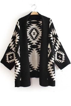 Geometric Patterns Atmospheric Cardigan Knitted Cloak