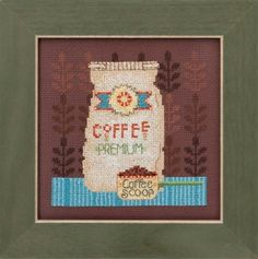 "DM301614 - Coffee Grounds -Good Coffee & Friends Kit Includes: Beads, Brandywine 16ct Aida, floss, needles, chart and instructions.  Mill Hill frame GBFRM12 sold separately Size: 4.75"" w x 4.75"" h"
