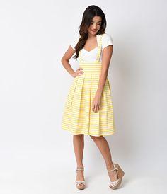 6776ac14a40 Iconic by UV Yellow   White Striped Jitterbug Suspender Skirt Modern  Vintage Fashion