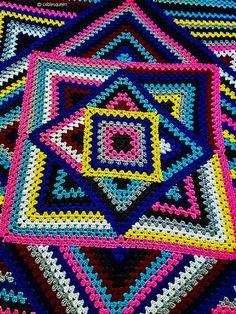 Kaleidoscope Crochet Granny Blanket Free Pattern