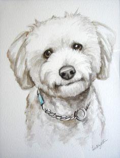 8.5x11 Custom Pet portrait original watercolor painting dog cat animal pet lover pet memorial painting handmade wall art gift. $20.00, via Etsy.