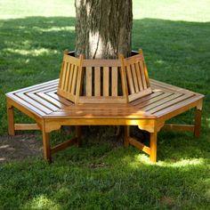 Coral Coast Fillmore Wood Outdoor Hexagonal Tree Bench, Medium Wood