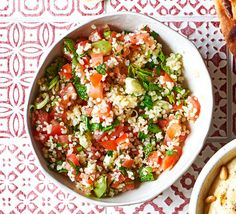 This easy bulghar wheat tabbouleh is the easiest vegan side dish ever and takes just a few ingredients. Pair with hot falafels, houmous and crisp pitta bread