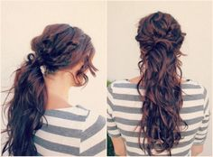 Fun ponytail hair style. Can be done with long or medium hair.