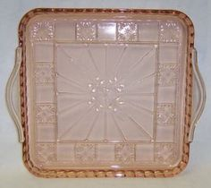 Jeannette Depression Glass Pink DORIC 8 X 8 by StraitsAntiques, $40.00