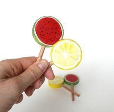lollipop watermelon, lemon