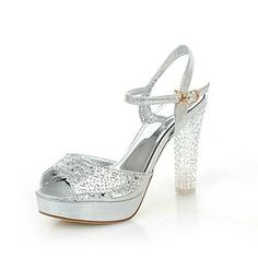 Faux Leather Women's Chunky Heel Peep Toe Heels Sandals Shoes with Rhinestone (More Colors) - USD $ 39.99