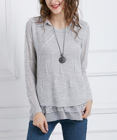 Gray Cable Knit Tunic