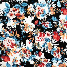 "Floral Silhouette Red Black Cotton Spandex Knit Fabric - Customer favorite is back!  Red, peach, blue color flowers and flower silhouettes on a black background color white, top quality cotton spandex knit.  Fabric is soft with a smooth hand, light to mid weight with a 4 way stretch.  Largest flower measures 1 3/4"" (see image for scale).  A versatile fabric that is great for many uses.    ::  $8.80"