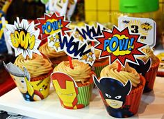 Awesome cupcakes at a superhero birthday party! See more party planning ideas at CatchMyParty.com!