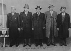 A line-up of Jewish gangsters in New York (1931).    From left to right: Joseph 'Nig' Rosen, Benjamin 'Bugsy' Siegel, Harry Teitelbaum, Harry Greenberg and Louis Buckhouse (alias of Louis 'Lepke' Buchalter) .