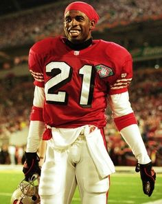 """""""Neon"""" Deion Sanders - Atlanta Falcons, Dallas Cowboys and made a cameo appearance for the San Francisco Hall of Fame Inductee in 2011 American Football, Football Players, Football Team, Football Stuff, Football Helmets, A Elite, Forty Niners, Sports Personality, Football Hall Of Fame"""
