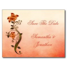 Ornate Orange Green Floral Swirls Save The Date Post Card